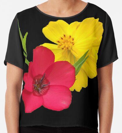 tolle bunte Blumen in den Farben rot und gelb, Sommer, Garten,   Chiffontop für Frauen