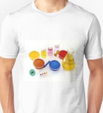 lab tools, products and chemicals on white background Unisex T-Shirt