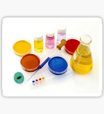 lab tools, products and chemicals on white background Sticker