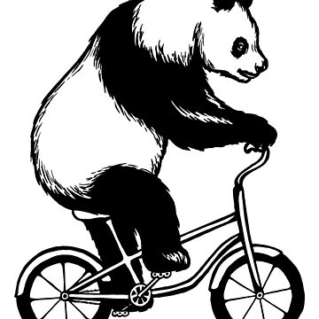 Panda on bike by amelielegault