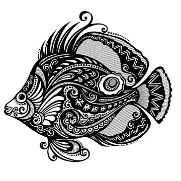 Black and White Print of Exotic Fish by lissantee