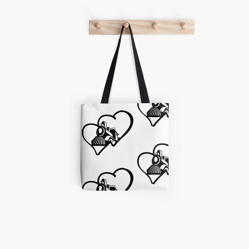 Love Trains Design Tote Bag