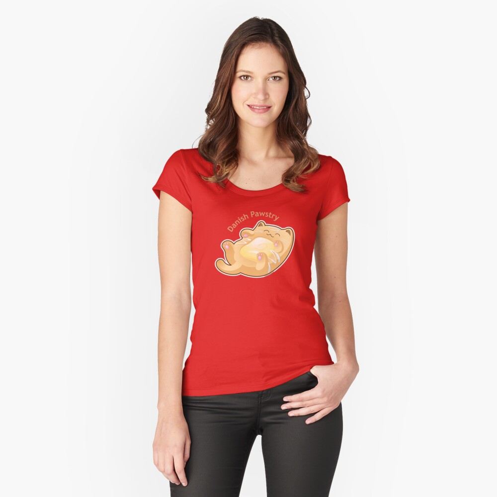 Cute Danish Pastry Cat Women's Fitted Scoop T-Shirt Front