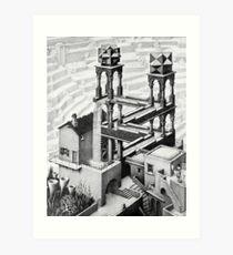 Escher waterfall geometry geometric mathematic Art Print