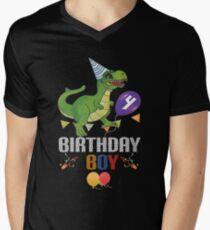Dinosaur Birthday Shirts For Boys 4 Mens V Neck T Shirt