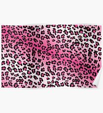 Pink and White Leopard Print Poster