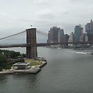 Aerial View, Brooklyn Bridge, Brooklyn Bridge Park, Lower Manhattan Skyline, Brooklyn, New York City by lenspiro