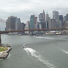 Aerial View, Brooklyn Bridge, Lower Manhattan Skyline, Brooklyn, New York City by lenspiro