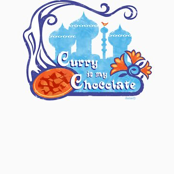 """""""Curry Is My Chocolate"""" Vintage Design [lower t-shirt placement] by Bootee"""