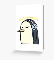 Chill Penguin With Headphone Greeting Card