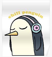 Chill Penguin With Headphone Poster