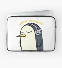 Chill Penguin With Headphone Laptop Sleeve