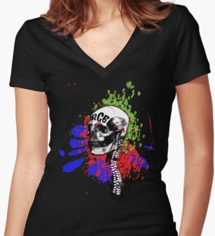 RGB Skull Women's Fitted V-Neck T-Shirt
