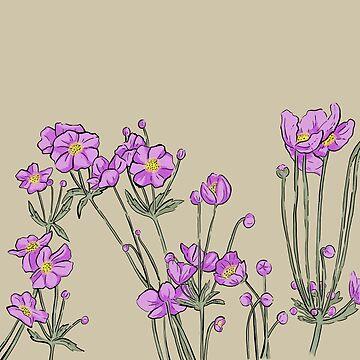 Pink Japanese Anemone Flowers by VeeraNoir