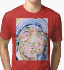 MOTHER TERESA - watercolor portrait Tri-blend T-Shirt