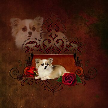 Cute chihuahua with roses by nicky2342