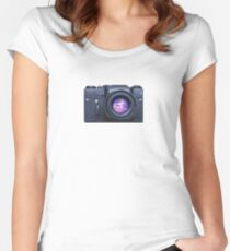 Old fashioned film camera with pink unicorn Women's Fitted Scoop T-Shirt