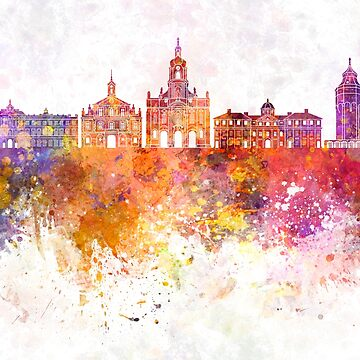 Rastatt skyline in watercolor background by paulrommer