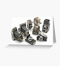 an assortment of old style film cameras        Greeting Card