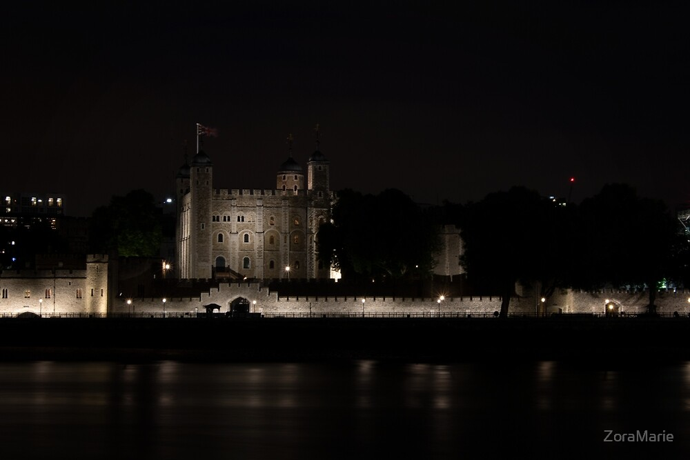 Tower of London lit in the Night by ZoraMarie