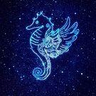 Pegasus-Seepferdchen in Neon-Stil und Sternen von paulrommer
