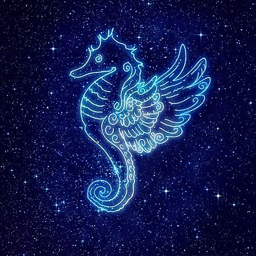 Pegasus seahorse in neon style and stars by paulrommer