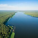 Aerial view of Sajno lake on a sunny day by Lukasz Szczepanski