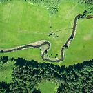 Aerial view of canoes on Rospuda river on a sunny day by Lukasz Szczepanski