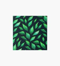 Abstract Botanical Painted Green Leaves Pattern Art Board