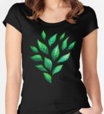 Abstract Botanical Painted Green Leaves Pattern Women's Fitted Scoop T-Shirt
