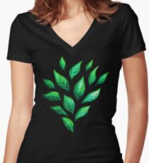 Abstract Botanical Painted Green Leaves Pattern Women's Fitted V-Neck T-Shirt