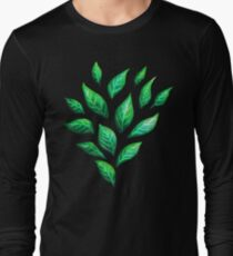 Abstract Botanical Painted Green Leaves Pattern Long Sleeve T-Shirt
