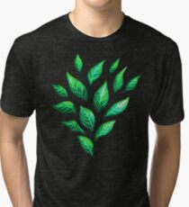 Abstract Botanical Painted Green Leaves Pattern Tri-blend T-Shirt