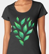 Abstract Botanical Painted Green Leaves Pattern Women's Premium T-Shirt