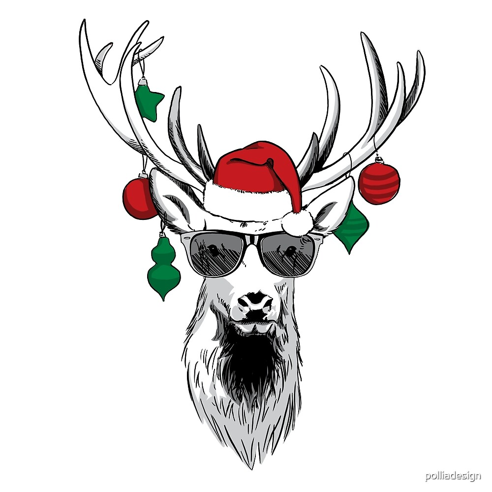 cool reindeer with sunglasses funny christmas cartoon by