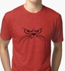 black and white grumpy cat with whiskers Tri-blend T-Shirt