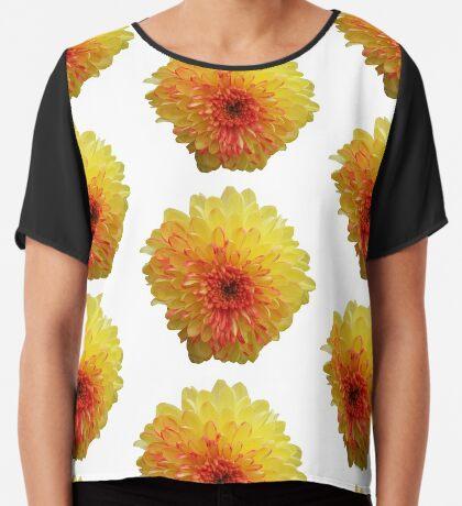 tolle Sommer Blume in den Farbven gelb und rot Chiffontop für Frauen