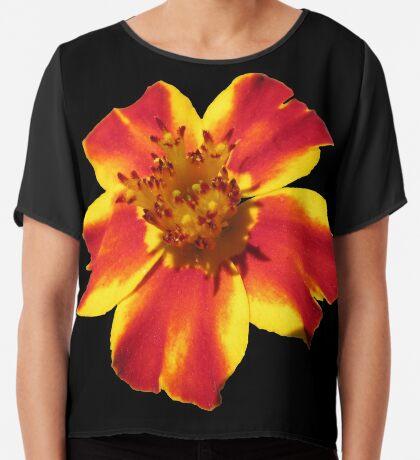 wunderschöne Blume in den Farben gelb und rot Chiffontop für Frauen