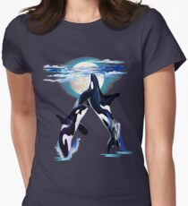 Two Leaping Orcas Womens Fitted T-Shirt