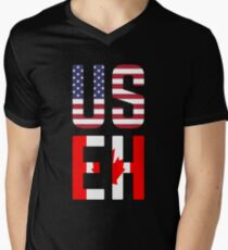 USEH America Canada Flag Funny American Canadian Men's V-Neck T-Shirt