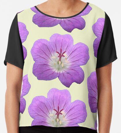eine wunderschöne Blume in violett, lila, Sommer Chiffontop für Frauen