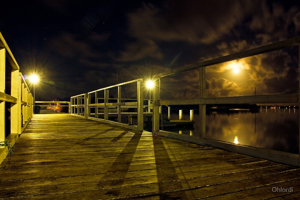 Jetty at Full Moon by Ohlordi