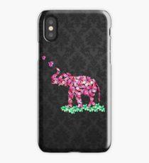 Retro Flower Elephant Pink Sakura Black Damask iPhone Case