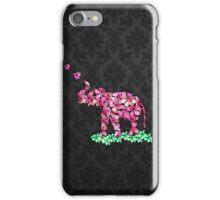 Retro Flower Elephant Pink Sakura Black Damask iPhone Case/Skin