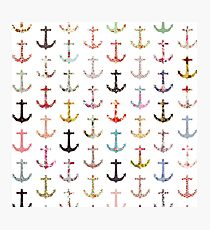 Vintage retro sailor girly floral nautical anchors Photographic Print