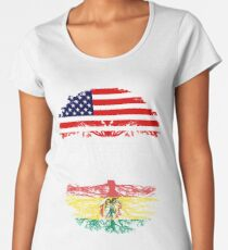 American Brother With Bolivian Roots - Gift For Bolivian Brother From Brother Or Sister Women's Premium T-Shirt