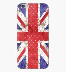 Vintage rote Tupfen Blumen-BRITISCHE Union Jack-Flagge iPhone-Hülle & Cover