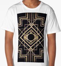 Art deco,vintage,1920 era,The Great Gatsby,gold,black,pattern,elegant,chic,modern,trendy Long T-Shirt