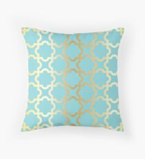 Gold,turquoise,mint,moroccan,quatrefoil,pattern,modern,trendy,girly,elegant,chic Throw Pillow