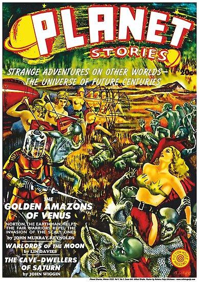 «Poster: Planet Stories, Winter 1939. Vol 1, No 1. Cover Art by Albert Drake. Reproducción: Relatos Pulp Ediciones» de ZonaPulp